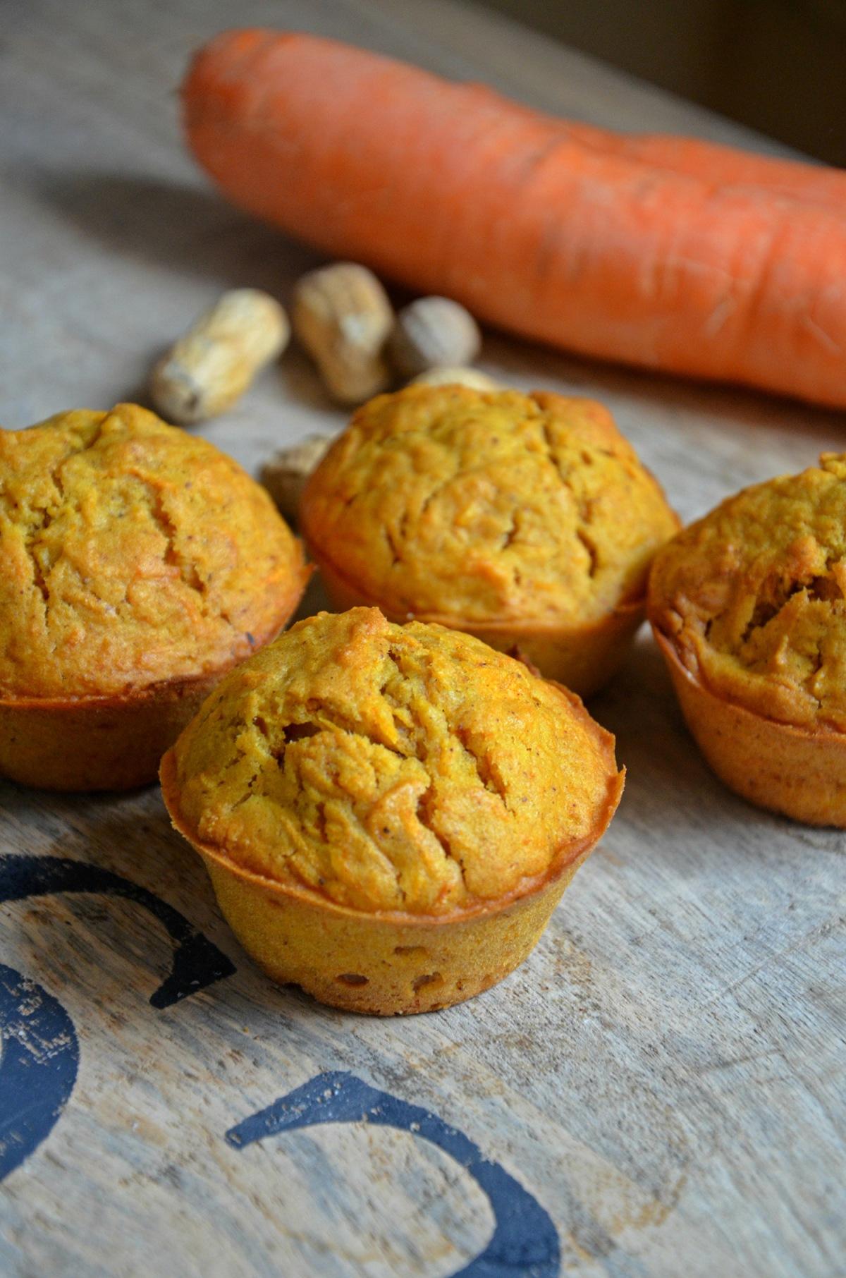 muffins vegan carrot cake cacahuètes