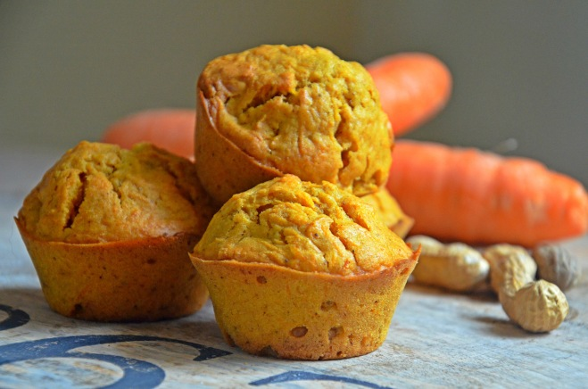 muffins vegan carrot cake et cacahuètes