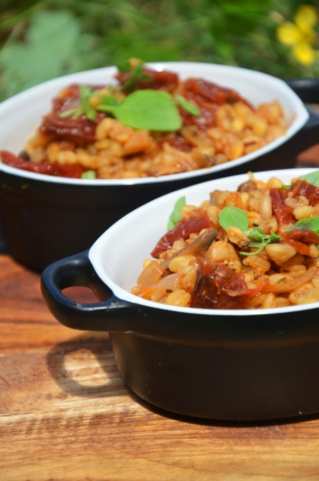 blé façon risotto aux tomates séchées vegan