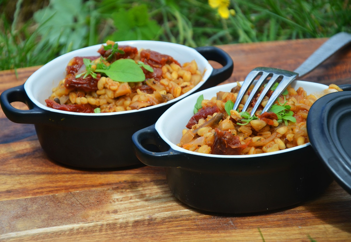 blé risotto vegan basilic tomates séchées végétalien